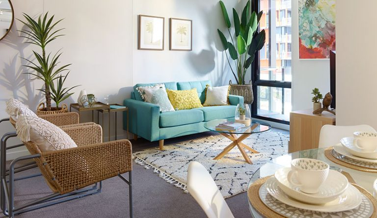 1 Bedroom Display Living Room - Southport Rentals - Smith Collective