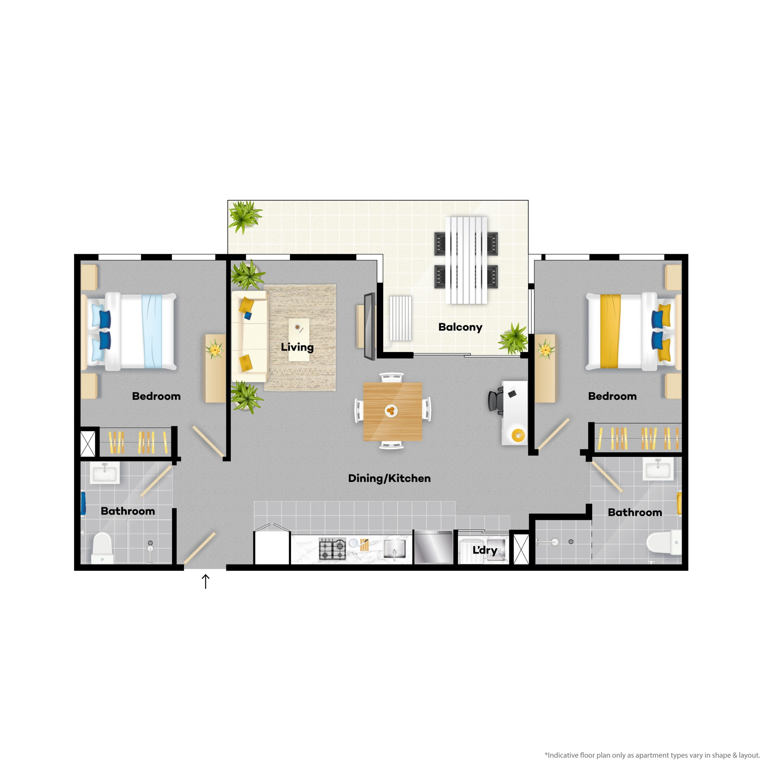 2 bedroom apartments for rent coloured floor plan